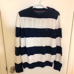 Tommy Hilfiger White Blue Stripped Sweater